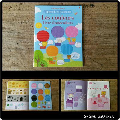 livre d'autocollants les couleurs usborne