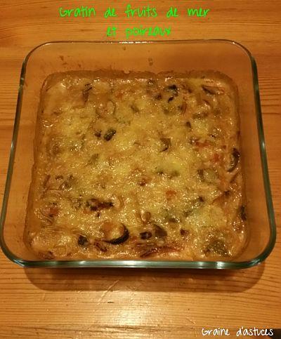 recette gratin poireaux et fruits de mer
