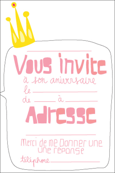 carte invitation fille princesse