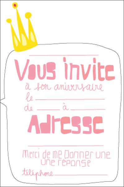 carte invitation fille princesse