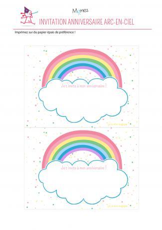 carte anniversaire printable arc en ciel