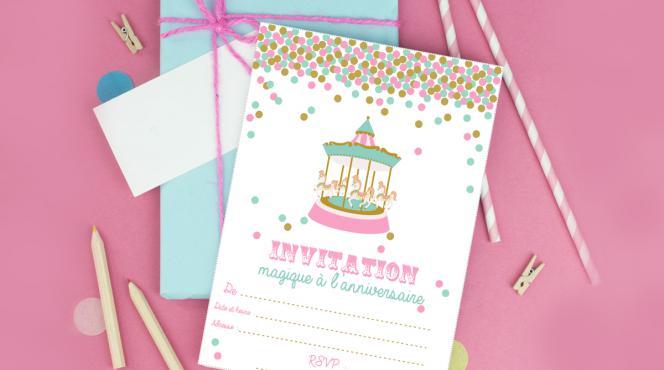 carte d'invitation à imprimer fête foraine fille