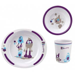 coffret vaisselle petit monstre thermobaby